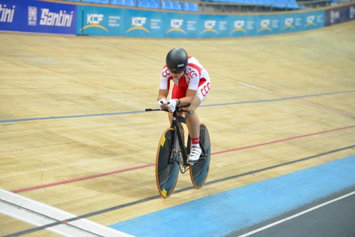 A nova campeão da perseguição individual Justina Kaczkowska - ficou a mais de 3 segundos do recorde mundial  - foto© UCI