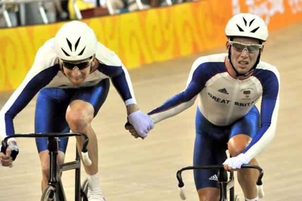 Wiggins e Cavendish na prova de Madison.Não correm juntos desde 2008 foto: Divulgação