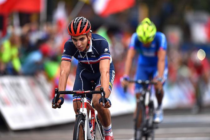 """Anthony Turgis se """"enfiou"""" entre os italianos e conquistou o bronze. Foto:Tim de Waele / TDWSport.com"""