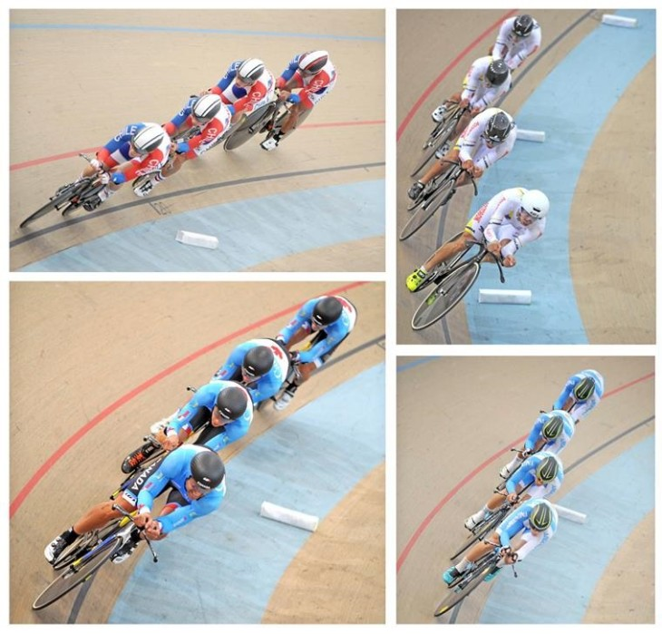 As seleções que disputaram as finais da Perseguição por Equipes - 4x4000m - foto: Fed.Ciclista Chile