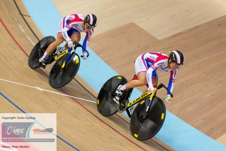 As russas Daria Schmelewa e Anastassia Winowa  campeãs da velocidade por Equipes