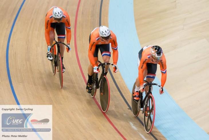 Os holandeses foram a surpresa com a medalha de ouro na Velocidade por Equipes