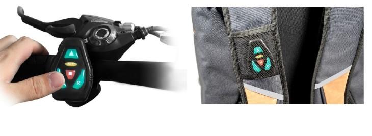 O controle do GO LED pode ser instalado no guidão, após o pedal pode ser levado em um dos bolsos da mochila