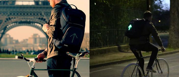 Uma mochila com sinalização de trânsito. Solução que alia design com tecnologia para o dia a dia do ciclista urbano