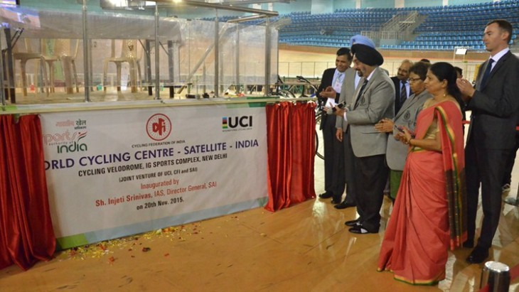 The UCI WCC satellite centre in New Delhi, India, was inaugurated in presence of Messrs. Injeti Srinavas, Director General of the Sports Authority of India and Parmindar Singh Dhindsa, President of the Cycling Federation of India ©UCI