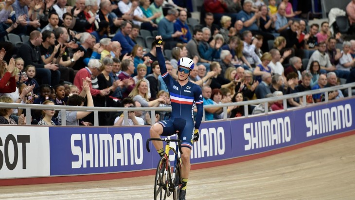 Thomas Boudat venceu o Scratch, prova de abertura do Omnium foto: AFP- Erik Feferberg