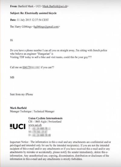 E-mail oficial dando alerta sobre as investigações da polícia francesa