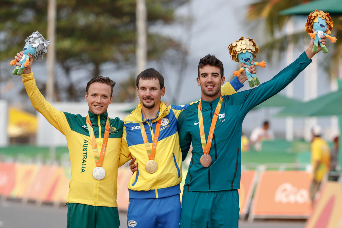 Pódio da C5, Donohoe, Dementyev e Chaman - foto: Comitê Paralímpico Brasileiro